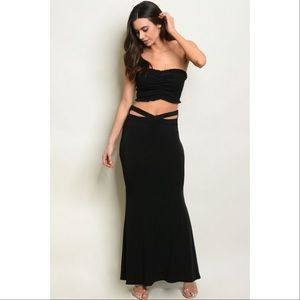Black maxi skirt with sexy hip cut outs